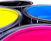 stock photo of pigments  - high resolution rendering of cmyk color pots - JPG