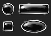 stock photo of oval  - Black glossy metallic button set - JPG