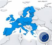 picture of macedonia  - Highlighted European union on map of europe with national flag - JPG
