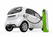 foto of electric station  - Electric Car in Charging Station isolated on white background - JPG