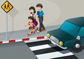 image of kinetic  - Illustration of a family walking at the street - JPG