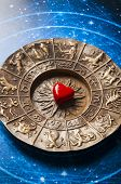 red heart lying on astrology wheel