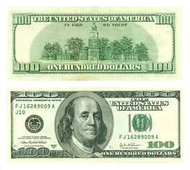 stock photo of one hundred dollar bill  - The front and back of a one hundred dollar bill - JPG