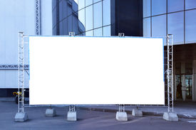picture of sign-boards  - Blank fabric billboard on a street close up - JPG