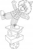 foto of circus clown  - Funny clown balancing on several objects - JPG