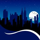 picture of new york night  - vector silhouette of new york  - JPG