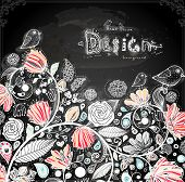 Stylish floral background, hand drawn retro flowers. Chalk style, Chalkboard background. Blackboard