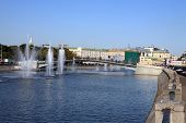 stock photo of banquette  - image of one fountain on river at day - JPG