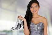 pic of quinceanera  - Teenage girl set against a white background - JPG