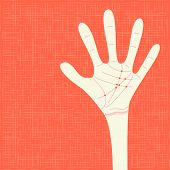 image of palmistry  - warm colorful up hand - JPG