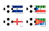 Football With El Salvador, Equatorial Guinea, England And Eritrea Flag