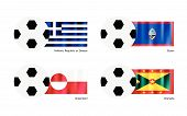 picture of guam  - An Illustration of Soccer Balls or Footballs with Flags of Hellenic Republic or Greece Guam Greenland and Grenada on Isolated on A White Background - JPG