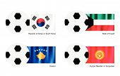 Soccer Ball With South Korea, Kuwait, Kosovo And Kyrgyzstan Flag