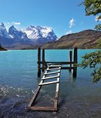 stock photo of dock a lake  - Boat dock on Lake Pehoe - JPG