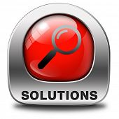 stock photo of solution  - solutions solve problems and search and find a solution red icon with magnifying glass button or sign - JPG