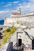 The fortress and lighthouse of El Morro in the bay of Havana