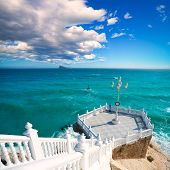 image of balustrade  - Benidorm balcon del Mediterraneo and sea from white balustrade Alicante Spain - JPG