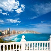 image of balustrade  - Benidorm balcon del Mediterraneo Mediterranean sea white balustrade in Alicante Spain - JPG
