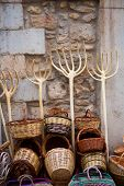 Traditionals baskets and cereal wooden forks in Maestrazgo of Castellon spain
