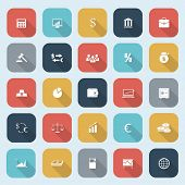 Trendy simple finance icons set in flat design with long shadows for web, mobile applications, socia