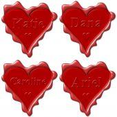 Постер, плакат: Валентина Любовь сердца с именами: Кэти дана Кэролайн Ариэль