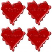 stock photo of molly  - Valentine love hearts with names - JPG