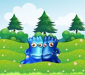 Illustration of the two blue monsters at the hilltop with pine trees