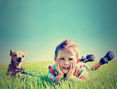 stock photo of chihuahua  - a boy and a tiny chihuahua in the grass done with a vintage retro instagram filter - JPG