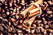 Roasted Coffee Beans And Cinnamon Sticks On Grunge Wooden Background