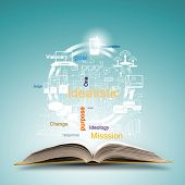 foto of idealistic  - Opened book with business sketches and concept icons - JPG