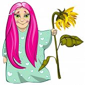 stock photo of nightie  - Cute small girl character with sunflower in hand - JPG