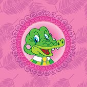 pic of alligator baby  - Crocodile Alligator On a pink background with palm leaves - JPG