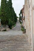 stock photo of calvary  - Calvary Steps at Pollensa on Mallorca Spain  - JPG
