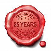 picture of credential  - 25 years experience red wax seal over white background - JPG