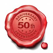pic of 50th  - 50th anniversary red wax seal over white background - JPG