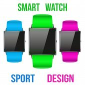 stock photo of wrist  - Smart design example sport wrist watch with empty display - JPG