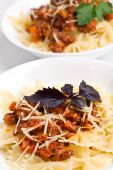 two servings of spaghetti bolognese poster