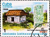 Постер, плакат: Почтовая марка показывает пример Майя культуру