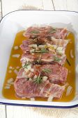 image of marinade  - ribs with rosemary and marinade in a bowl - JPG