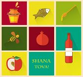 image of hebrew  - Set of icons for Jewish holiday Rosh Hashana  - JPG