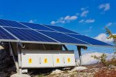 stock photo of solar battery  - A roof with solar panels cells  - JPG