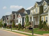 stock photo of row houses  - neighborhood of american row houses - JPG