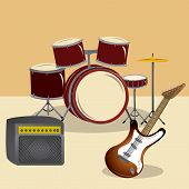 picture of drum-set  - a set of instruments for a rock concert like a drum set and an electric guitar - JPG