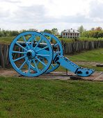 stock photo of battlefield  - A cannon on the historic Chalmet battlefield location of the Battle of New Orleans - JPG