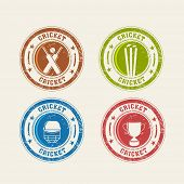 stock photo of cricket bat  - Colorful Cricket rubber stamps with bat - JPG