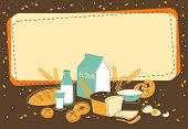 picture of pastry chef  - Vintage bakery background with bread and other pastries - JPG