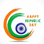 picture of ashok  - happy republic day greeting design stock vector - JPG