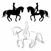 stock photo of horse-riders  - Set of 3 silhouettes of dressage horse with rider performing piaffe - JPG