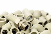 image of thermoplastics  - A lot of combined fittings for plastic pipes - JPG