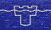 stock photo of tyne  - flag of Tyne and Wear painted on brick wall - JPG